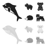 Rhino, koala, panther, hedgehog.Animal set collection icons in black,monochrome style vector symbol stock illustration web.