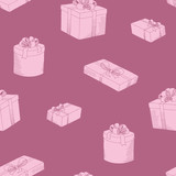 Present box graphic pink color seamless pattern background illustration vector - 218898849