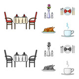 Vase with a flower, table setting, fried chicken with garnish, a cup of coffee.Restaurant set collection icons in cartoon,monochrome style vector symbol stock illustration web.