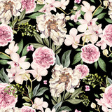 Watercolor pattern with peony flowers and orchids.  - 218901662