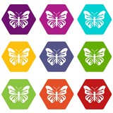 Butterfly icon set many color hexahedron isolated on white vector illustration