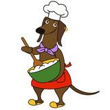 Cartoon dachshund dog chef character - 218906427