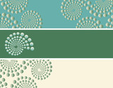 set of bookmarks with dots spirals patterns in blue green shades