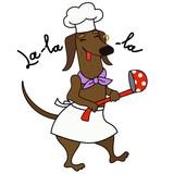 Cartoon dachshund dog chef character - 218906694