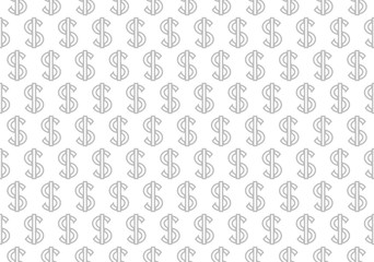 Abstract geometric pattern with dollars. A seamless vector background. White and grey ornament. Graphic modern pattern. Simple lattice graphic design