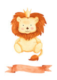 Watercolor illustration with a lion and ribbon. Perfect for children's birthday, children's show, invitations, postcards, logos.