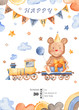 Watercolor card for children's birthday. Illustration with a cartoon bear, train, gift, balloon, flags, clouds. Perfect for children's birthday, children's show, invitations, postcards, logos. - 218919662