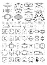 Of Beautiful Frames Vignettes And Headers For Monogram Wedding Design Menu Card Restaurant Cafe Hotel Jewellery Store Logo Templates Sticker