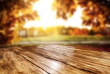 Table background and autumn landscape  - 218922026