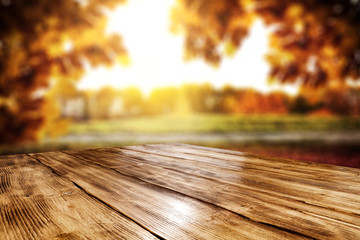 Table background and autumn landscape  © magdal3na