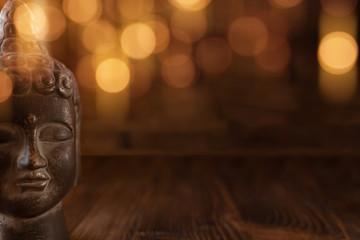Meditation scene with a face of buddha © gudrun