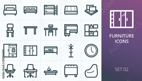 Furniture and interior icons set. Kit of beds, chairs, table, mattress, kitchen, office, closets