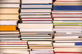 Piles of books background, back to school, college, university concept