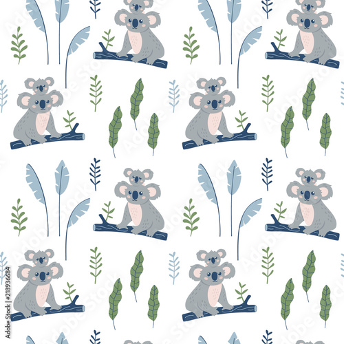 obraz lub plakat Hand drawn seamless pattern with Koala mother and Koala child. Cute Koala Bear print. Vector wallpaper.