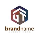 GT Initial letter hexagonal logo vector template