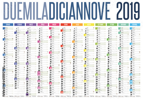 Sunrise And Sunset Calendar 2019 2019 italian calendar with italian holidays, zodiac , saints, moon
