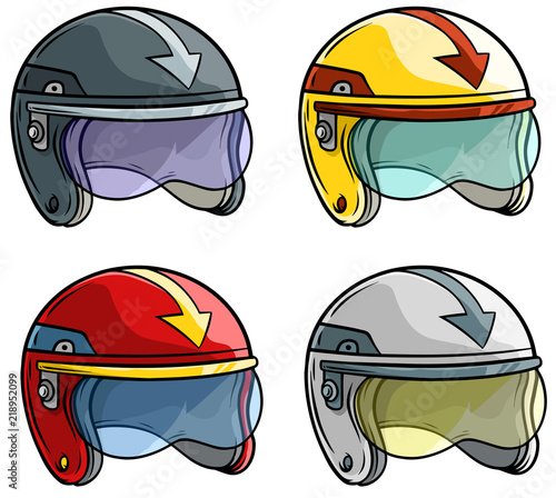 Cartoon motorbike racing helmet vector icon set