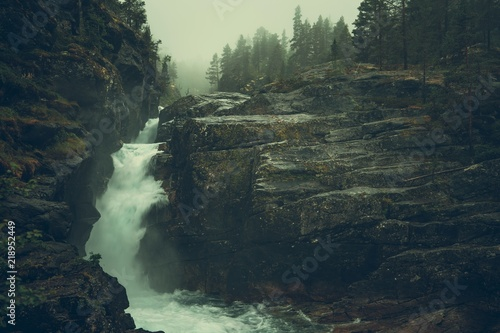Raw Foggy Waterfalls - 218952449