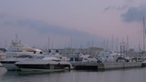 Panning shot of harbour with many yachts at anchor. Evening water scene - 218957211
