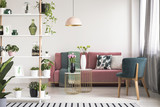 Real photo of a green armchair, pink couch, gold tables with flowers and wooden rack with plants in botanic living room interior - 218957695