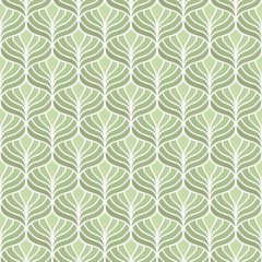 Classic green leaves art deco seamless pattern. Geometric stylish ornament. Vector antique texture.