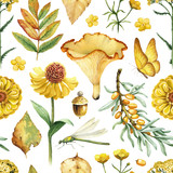 Summer seamless pattern with watercolor illustrations of flowers, mushrooms and insects - 218958055