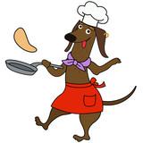 Cartoon dachshund dog chef character - 218958812