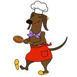 Cartoon dachshund dog chef character - 218959214