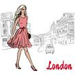 Woman walking in London - 218991473