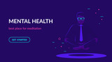 Office man sitting in calm lotus pose and meditating. Flat vector neon website template and landing page design of young people doing meditation and thinking about mindfulness after hard working day