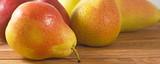ripe pears on table closeup
