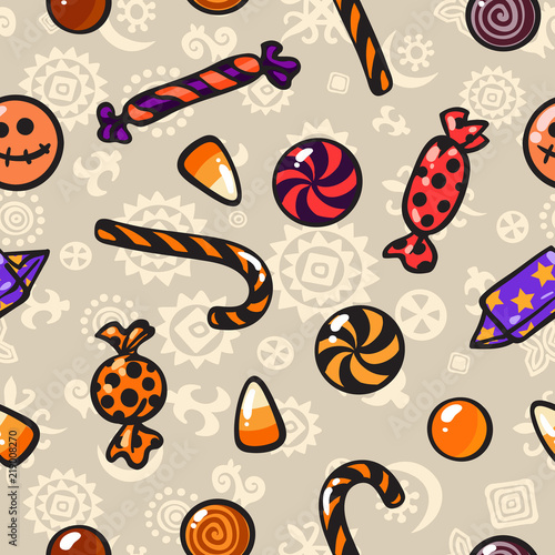 fototapeta na ścianę Halloween seamless pattern with cartoon candies. Vector