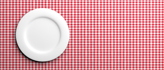 Empty white plate on red checkered tablecloth, banner, copy space. 3d illustration © Rawf8