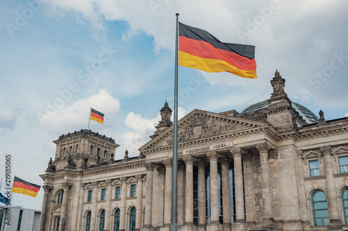 German flags at Reichstag building © Tim