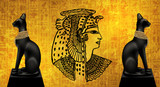 Egyptian asbstract background, goddess of Egypt Bastet, abstract golden background