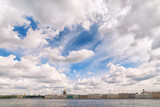 Panoramic wide angle view of Neva river in Saint Petersburg, Russia - 219022277