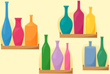 Bright bottles on shelfs, seamless pattern with bottles, flat style decoration, vector - 219033007