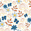 botanical floral seamless pattern. vector flower print. floral background. textile fabric design.  - 219040264