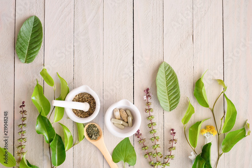 Leinwanddruck Bild herbal organic medicine product. natural herb essential from nature.