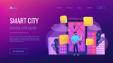 A man near huge LCD screen with city map and gps tags on the screen getting information about the city. Smart city and digital city guide landing page. Vector illustration on ultraviolet background. - 219048662
