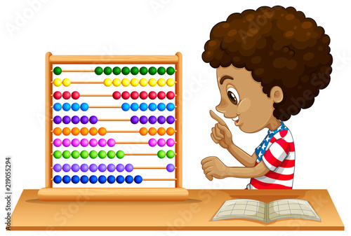 An african kid learning abacus