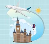 London landmarks with airplane - 219059011