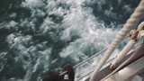 Shallow shot of the waves created by a yacht at sunset - 219059649