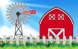 farm scene with windmill and barn - 219061872