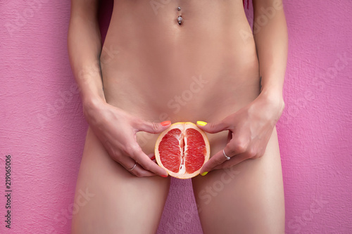 Womens secrets. Girl with grapefruit. Sex concept. - 219065006