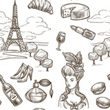 France Paris vector sketch seamless pattern - 219067682