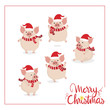 Happy new year greeting card with cute pig in red winter costume for Christmas. Animal cartoon character vector.