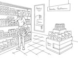 Grocery store shop interior black white graphic sketch illustration vector. Woman buying products - 219074814