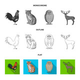 Rooster, tiger, deer, owl and other animals.Animals set collection icons in flat,outline,monochrome style vector symbol stock illustration web.