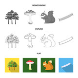 Pine, poisonous mushroom, tree, squirrel, saw.Forest set collection icons in flat,outline,monochrome style vector symbol stock illustration web.
